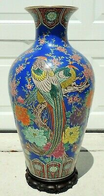 "Large Antique/Vtg 27"" Chinese Hand Painted Birds Flowers Vase Carved Wood Stand"