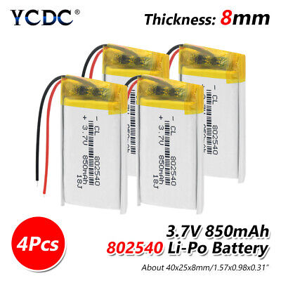 4X Rechargeable 3.7V 850mAh 802540 Battery For GPS MP3 MP4 LED Light RC drone 5
