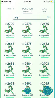 Pokemon Go Legendary Rayquaza (Weather Boosted)(Registered Trade Only!!)