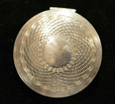 1924 Art Deco Style Norida Silver Toned Round Compact with Mirror and Insert
