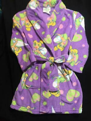 NEW DISNEY TINKERBELL FAIRIES TINK PLUSH Fleece Bath Robe Pajama Girl 6/6X