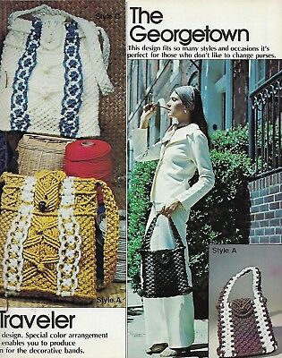 Macrame Purse Fashions Book Vintage 1970's Hippie Boho Shoulder Bag Patterns