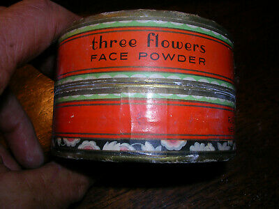 Vintage Richard Hudnut Three Flowers Face Powder Cardboard Box 4oz