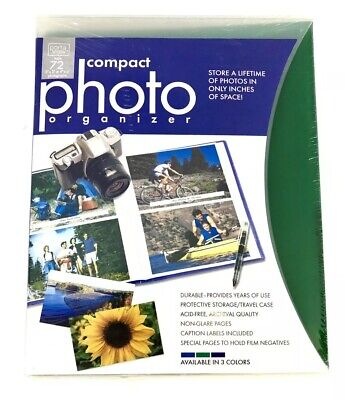 "Compact Photo Organizer Holds 72 Photos 3""x5"" or 4""x6"" Green Archival Acid Free"