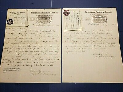 1916 Antique Snake Oil Hand-Written Letters  Converse Treatment Company Epilepsy