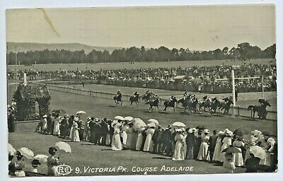 1910 Rp Pu Postcard Horse Racing Day At Victoria Park Adelaide South Aust D87