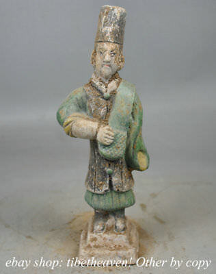 "8.8"" Antique Chinese Ming Sancai Ceramics Dynasty Palace Stand Merchant Statue"