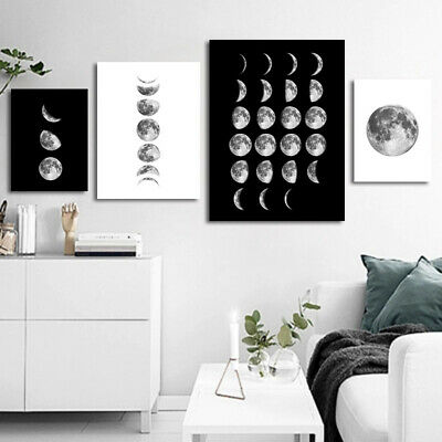 Living Moon-phases Canva Painting Abstract Solar Eclipse Art Nordic Poster Decor