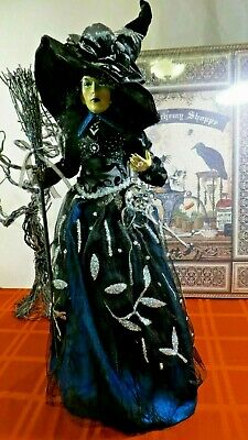 """Halloween Witch Doll W/Broom, Spider, Rose, Jewels Owl Ornament 27"""" Table Top"""