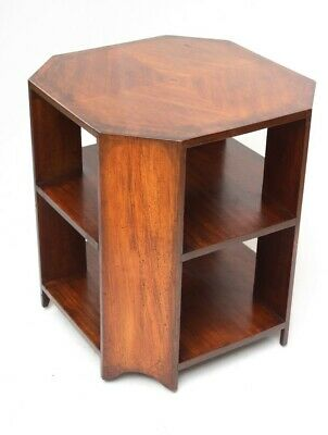 Art Deco Mahogany 3 Tier Octagonal Side Coffee Table with Castors [5425]