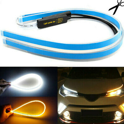 1x 60CM Slim Amber Sequential Flexible LED DRL Turn Signal Strip for Headlight