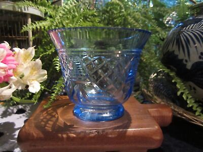 Vintage Blue Cut Glass Highly Decorative Vase