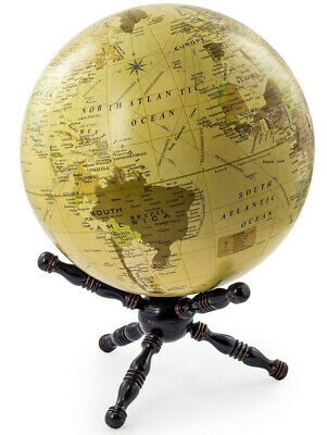 Medium Ivory Globe on Wooden Stand World Map Home Accessory