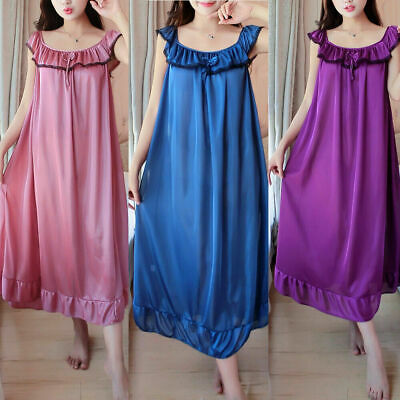 Ladies Shiny Satin Silky Nightdress Chemise Short Sleeve Nightie Nightshirt New