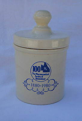 Elischer Aust Pottery Canister *100 yrs Pharmaceutical Society of Qld 1880-1980