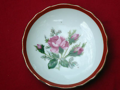 Pretty Vintage Small Decorator Wall Plate *Pink Roses