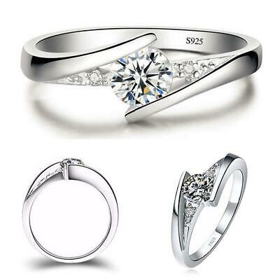 Classic 925 Silver Round Cut White Sapphire Engagement Ring Bridal Jewelry T5G4