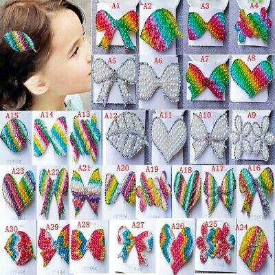 Baby kid Snap Hair Clip Barrette Grips Pearl Hairpin Crystal Pins Accessories
