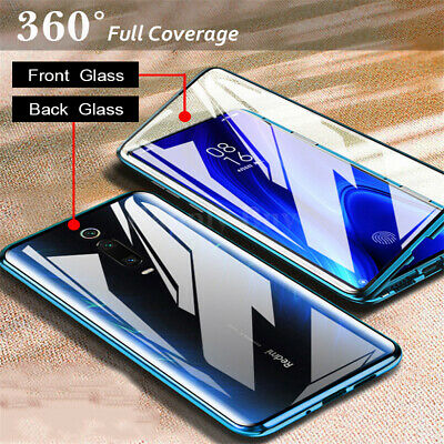 For Xiaomi Mi 9T 9 SE 360° Magnetic Adsorption Metal Tempered Glass Case Cover