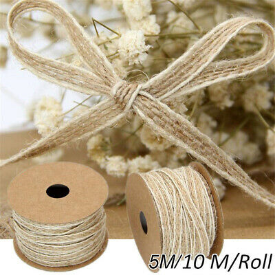 1 Roll Natural Jute Burlap Ribbon Lace Trims Tape Vintage Wedding Decor DIY 10M