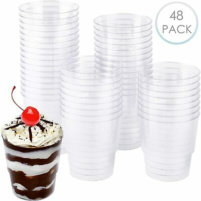 48 x Hard Plastic Reusable Clear Party Dessert Cups BBQ Events Catering 240 ML