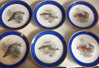 Antique Rosenthal Selb Bavaria 6 Fish Plates Cobalt Blue With Gold Trim