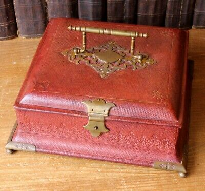 Antique French Louis XVI Style Leather Brass Jewellery Trinket Sewing Box Casket