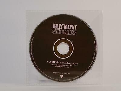 BILLY TALENT, SURRENDER, M/EX, 1 Track, Promotional CD Single, Plastic Sleeve, A