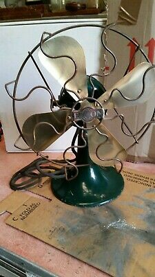 Circa pre 1950s cast iron & brass ELCON electric fan