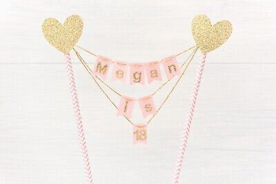 Personalised Pink or Blue & Gold Silver or Rose Gold Bunting cake topper