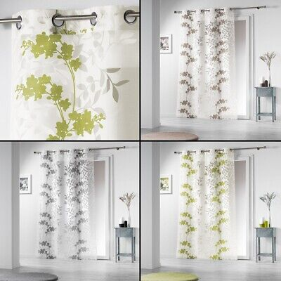 Bright Floral Eyelet Voile Curtain Panel - Extra Long Drop - Assorted Colours