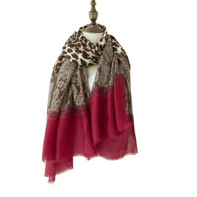Women Winter Scarf Leopard Lace Splice Square Print Vintage Clothing Accessories
