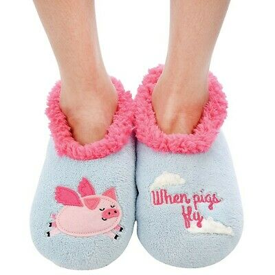 Ladies Slipper Snoozies! When Pigs Fly Design Ideal  Gift