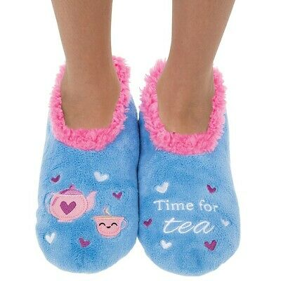 Ladies Slipper Snoozies! Time For Tea Design Ideal  Gift