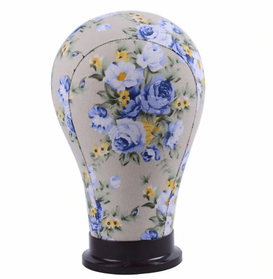 Blue Flower Canvas Block  Mannequin Headl For Hair Extension Lace Wig cap stand