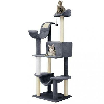 Finether Arbre à Chat Géant 5-Tiers Griffoir Grattoir Niches Hauteur Gris