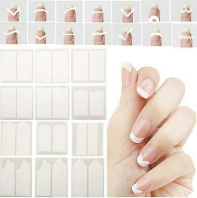 CINEEN Nail Stickers French manucure Tips Smile Feuilles Autocollants Blanc