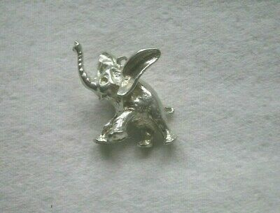 Vintage Solid Sterling Silver Baby Elephant 'Dumbo' Charm Pendant ~ 10.9g