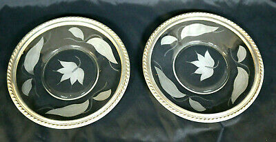 Pair Of Wallace Sterling Silver Rimmed Floral Etched Plates