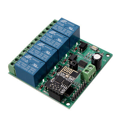 DC12V ESP8266 Four Channel Wifi Relay IOT Smart Home Phone APP Remote Control Sw