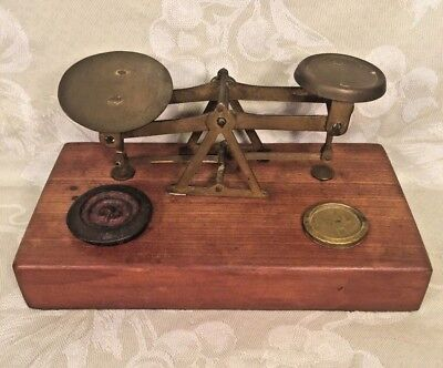 Antique Balance Scale with Brass Pans & Wood Base & 2 Weights