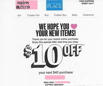 FASTEST CODE! Place--$10 OFF First Order of $40, The Childrens,com--Exp. 8/27/19