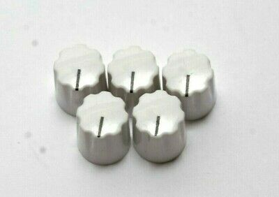 *LOT OF 5* Small White Amplifier Radio Electronics Synth Round Dial Knob!