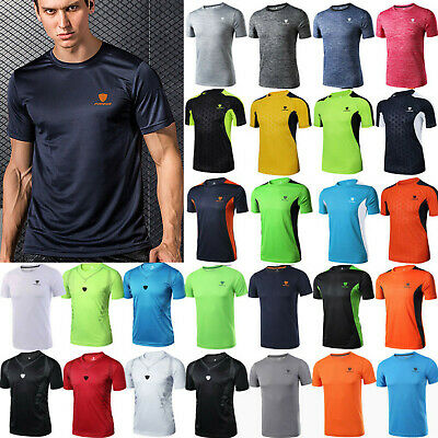 Mens Breathable Quick Dry T Shirt Wicking Running Gym Top Sports Football Train