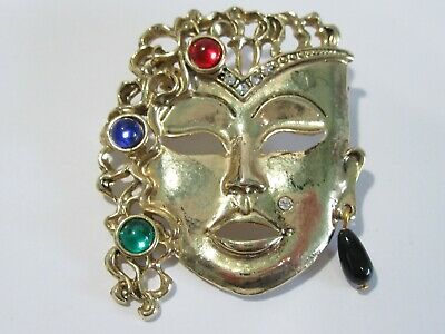 Large Lady Oriental Asian Mask Woman With Jeweled Cabochons Figural Face