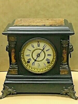Antique 1880 Seth Thomas Clock Co. Vintage Adamantine Mantle Clock with Key