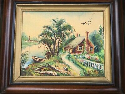 """Antique Victorian Deep Walnut Wood Gilt Picture Frame 8x10""""+ Cottage Painting"""