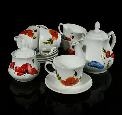 Russian Porcelain Tea set with Poppies Pattern / 6 pers 14 pc Kubanfarfor