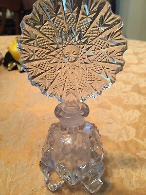 French Antique Crystal Perfume Bottle Made in France Heavy Detailed Victorian
