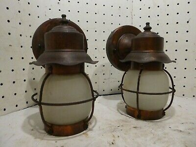 Vintage Copper Lantern Mission Wall Sconce  Cottage Outdoor Light Fixture